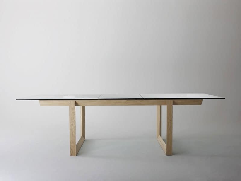 Tavoli tavoli design moderno legno vetro idf for Tavoli pranzo cristallo