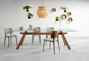 Zeus LG vetro, Tavolo da pranzo con struttura in legno e piano in vetro