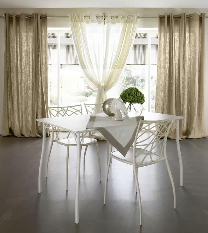 Tavolo Cucina Decorato Jack Cantori : Tavolo in ferro con piano rettangolare legno goffrato