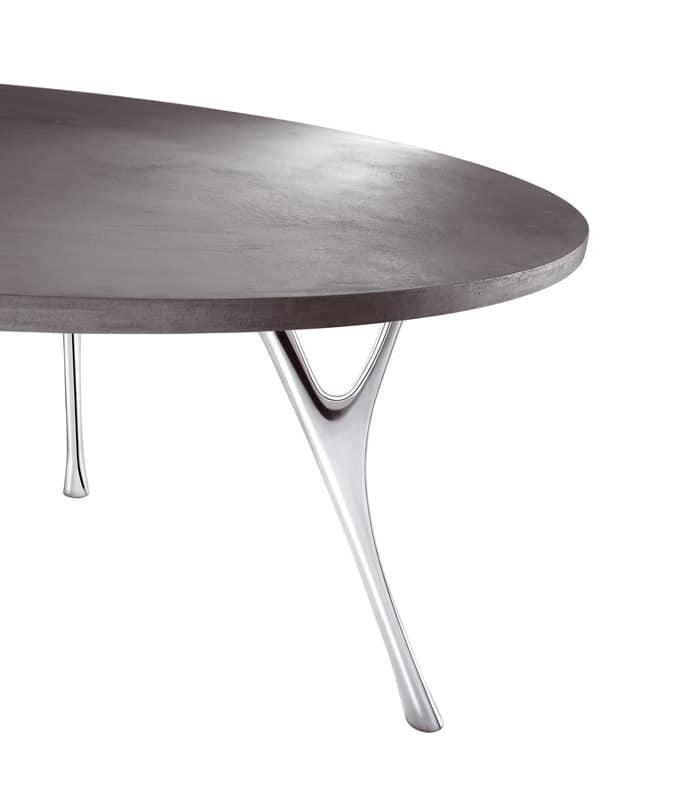Pegaso cemento, Ampio tavolo rettangolare con finitura in cemento