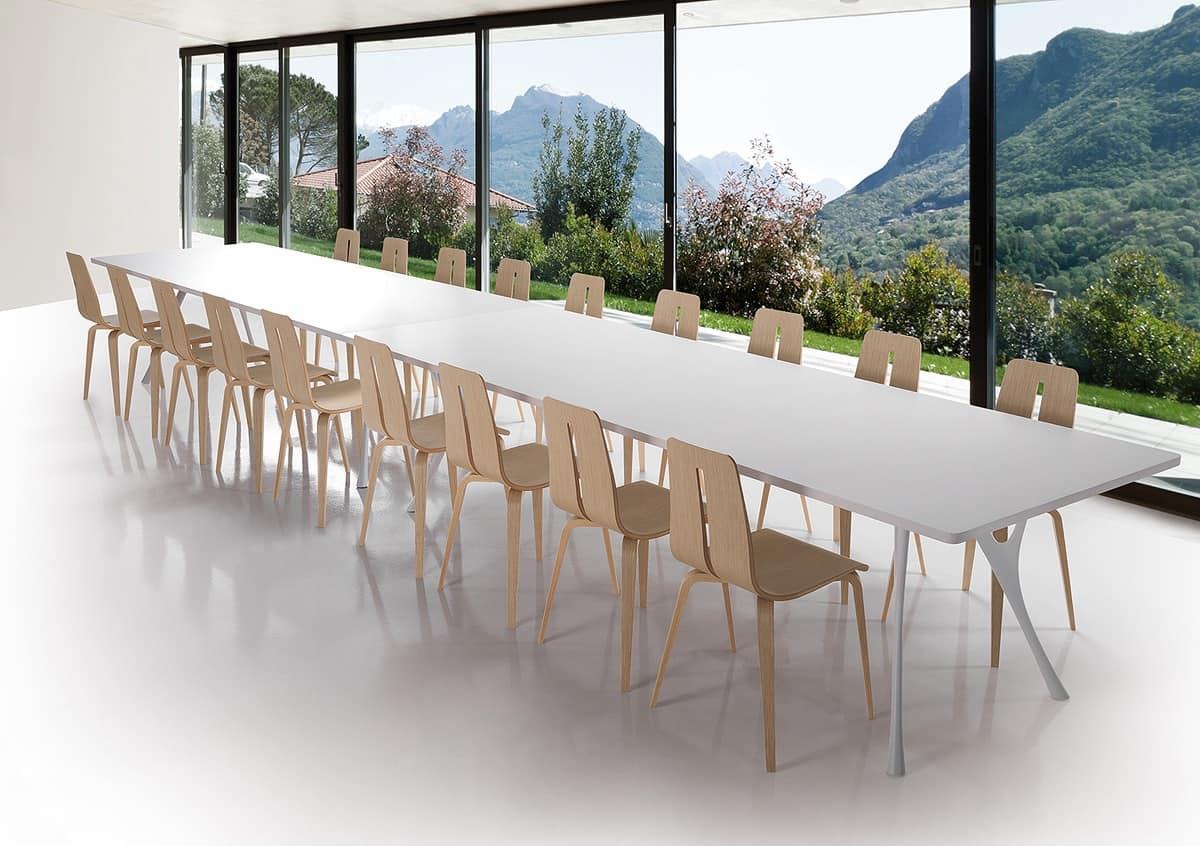 Lungo tavolo in alluminio lucidato e piano in resina for Tavolo in alluminio