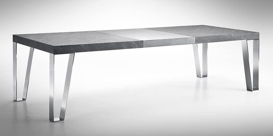 Tavolo estensibile con gambe in acciaio, piano in ardesia ...