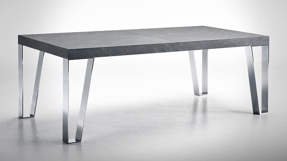 Tavolo estensibile con gambe in acciaio, piano in ardesia | IDFdesign