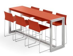 Strato tavoli alti 210.H18H, Tavoli alti con piano in cuoio