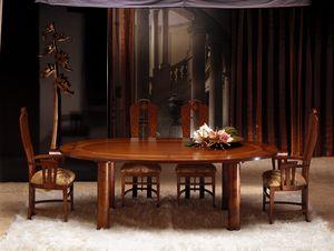 TA28 Zebrano, Tavolo ovale top in legno