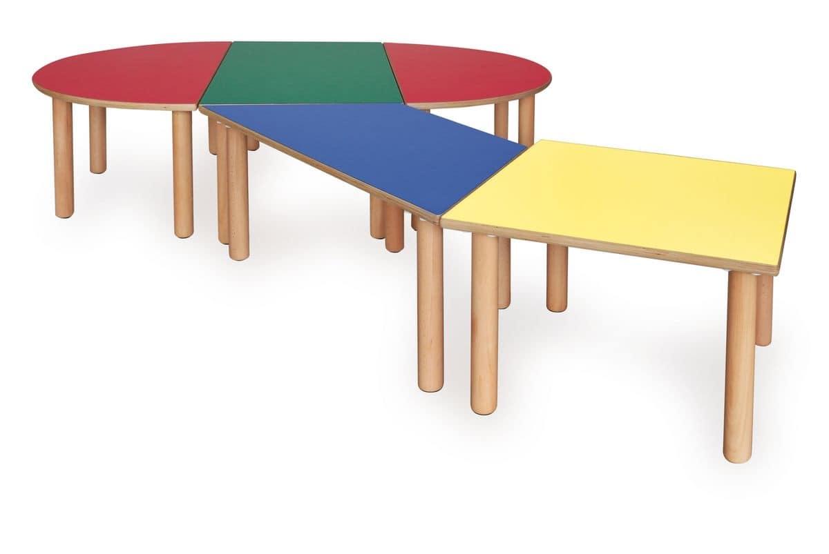 Tavolino componibile per bambini realizzato in legno for Tavoli per cucine piccole