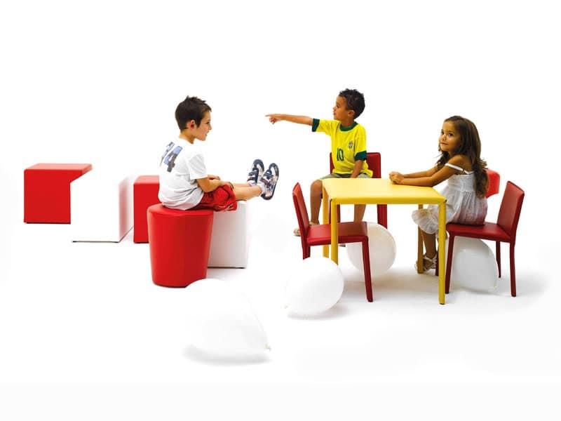 Junior, Tavolo piccolo, rivestito in pelle, per mensa bambini