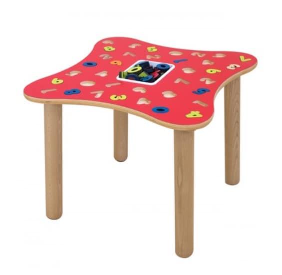 Tavolo educativo con numeri in multistrato di betulla idfdesign - Tavoli gioco per bambini ...