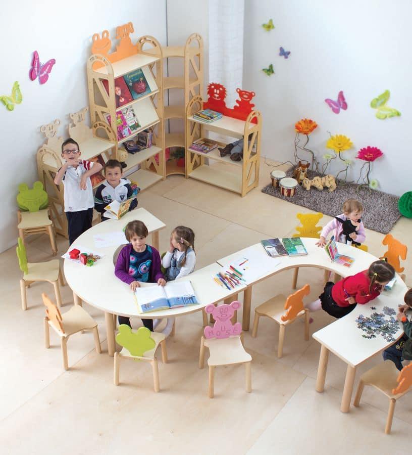 Tavolo in multistrato di betulla per i bambini disponibile in legno naturale o colorato per - Tavoli gioco per bambini ...