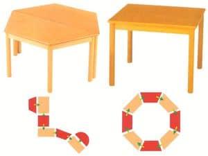 Tavolo componibile, Tavoli componibili, in legno di faggio, per asilo e scuola