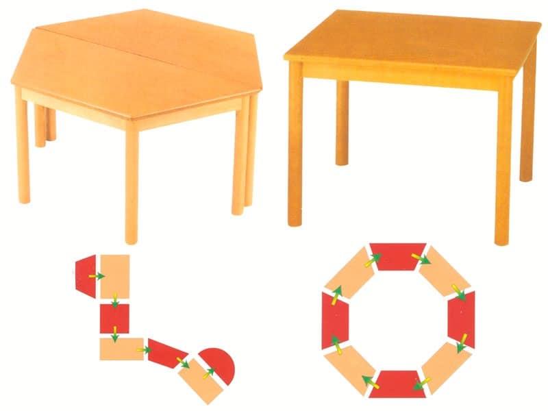 Tavoli componibili in legno di faggio per asilo e scuola for Tavolino per bambino