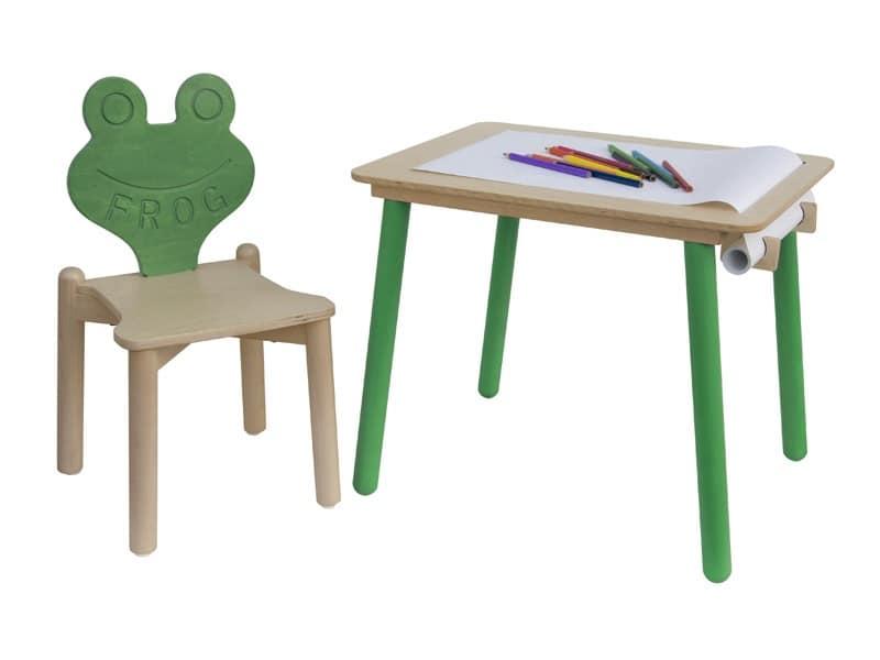 tavolino da disegno per bambini con portarotolo di carta