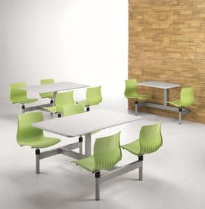 WEBBY W830, Tavolo rettangolare con 4 sedia fisse, per mensa