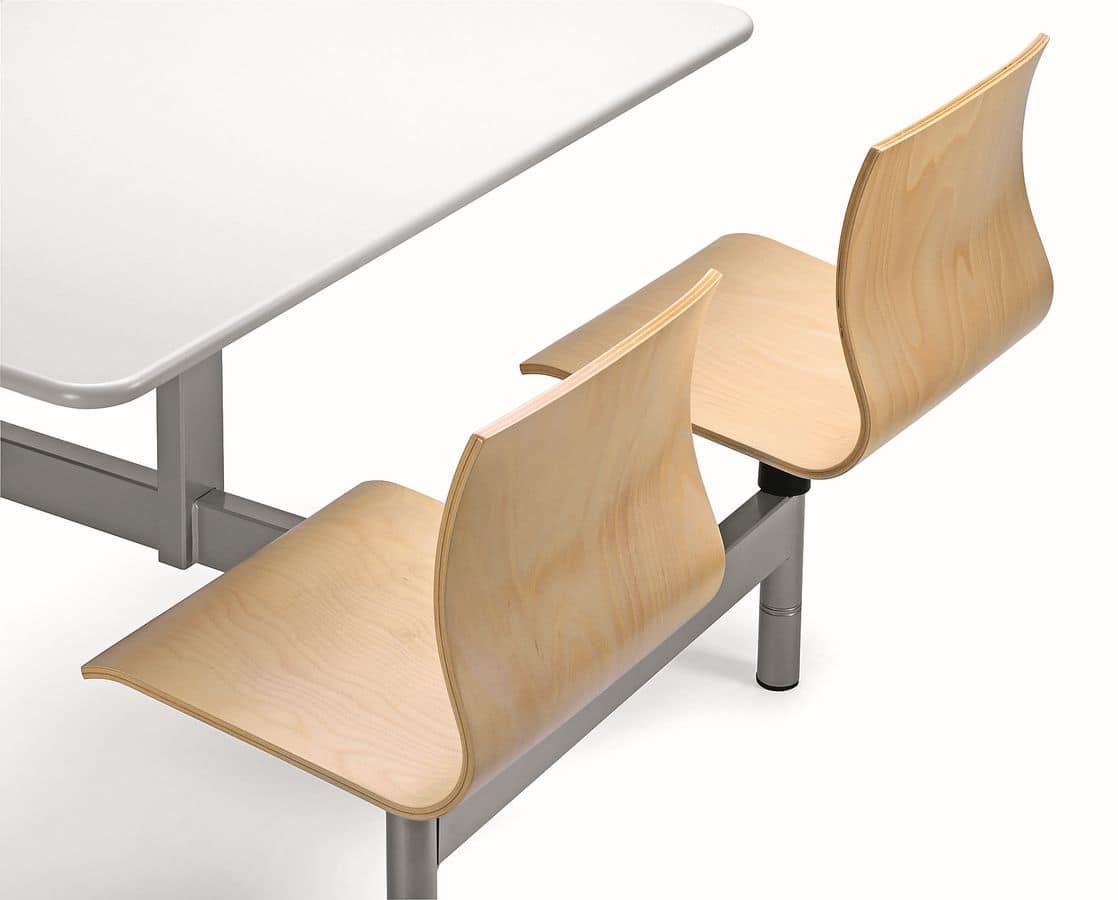 Tavolo monoblocco con 4 sedie in multistrato per mense - Tavolo con sedie ...