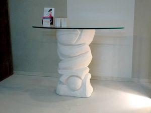 Equinozio, Tavolo in pietra, con piano di cristallo in appoggio