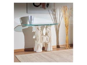 Magellano, Tavolo per salotti con base in pietra, stile moderno