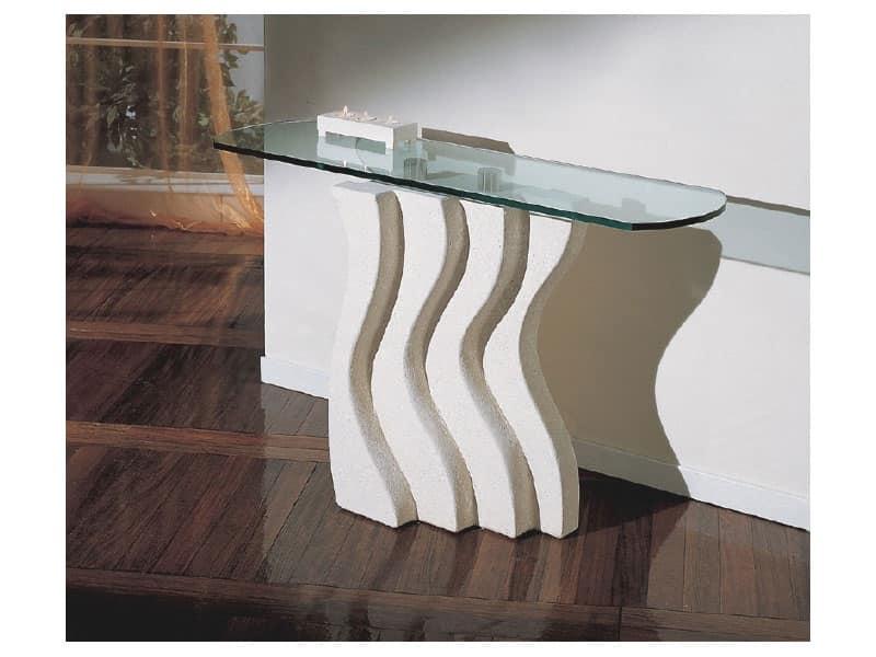 Onda, Colonna in pietra decorata per tavoli