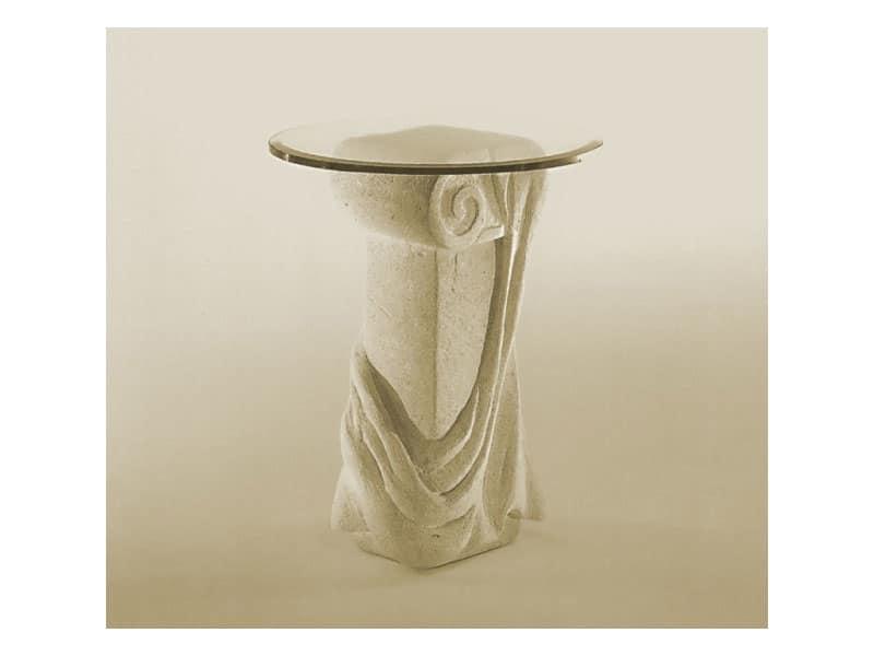 Saffo, Tavolo con piano in vetro e colonna in pietra