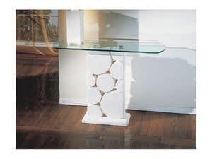 Sfera, Tavolo con colonna in pietra bianca scolpita