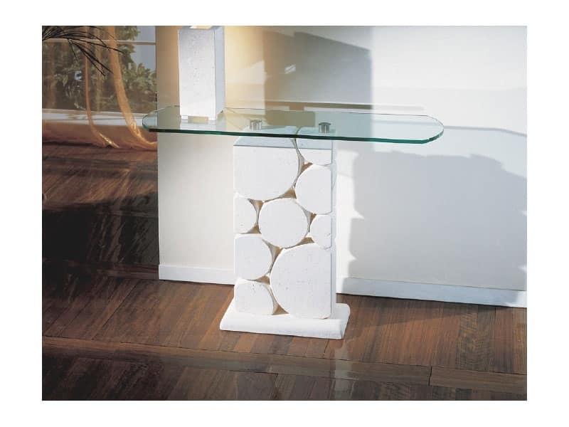 Tavolo con colonna in pietra bianca scolpita idfdesign for Glass tavoli cristallo