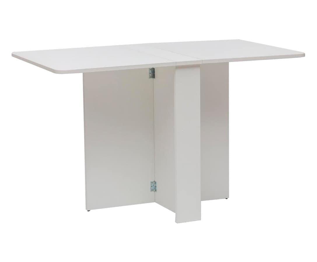 Tavolo in legno bianco richiudibile idfdesign - Tavoli pieghevoli salvaspazio ...