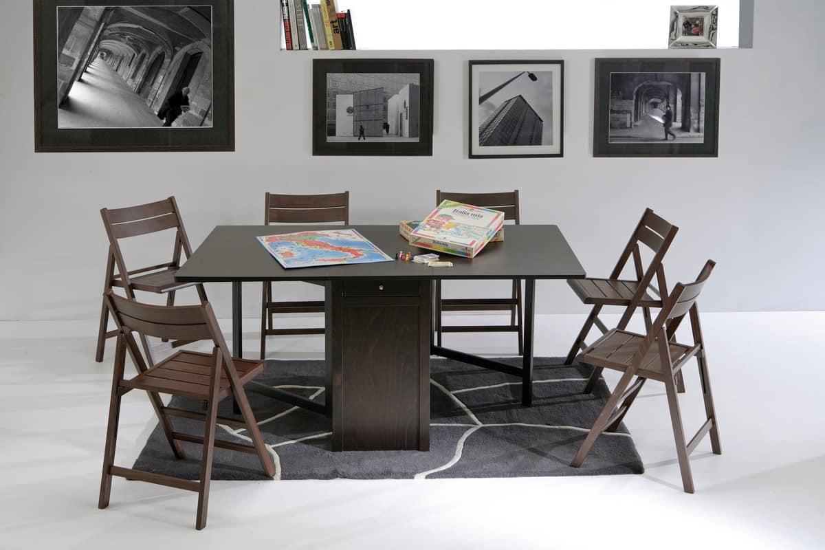 Tavolo pieghevole con vano per sedie idfdesign for Tavolo pieghevole salvaspazio