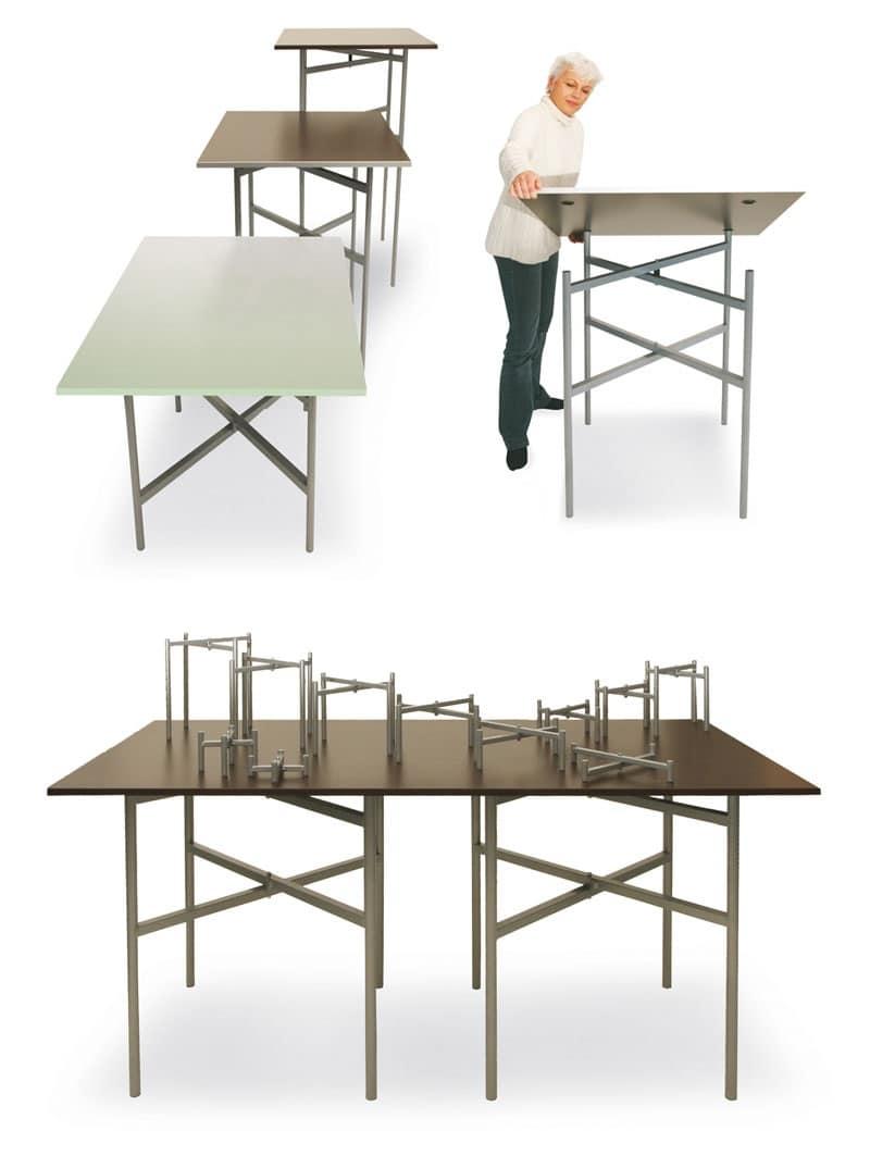 Tavolo base metallo soggiorno idfdesign for Tavoli pieghevoli