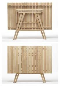 Enea Rettangolare, Tavoli chiudibili in legno, per catering