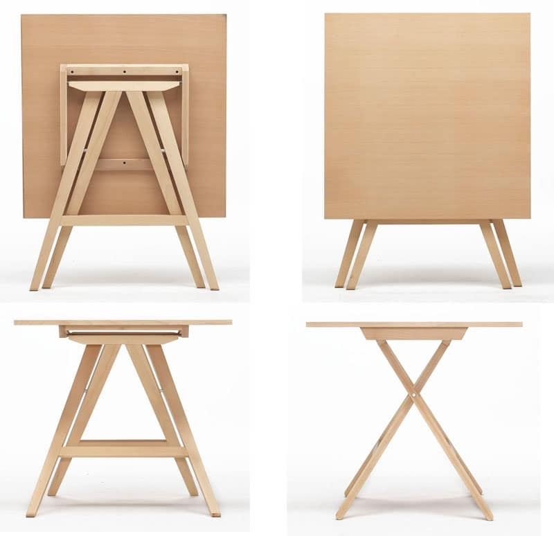 Tavolo salvaspazio per casa scuola ed esterni idfdesign for Tavolo in legno pieghevole