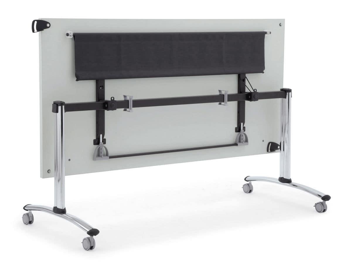 Tavolo ribaltabile con ruote piano in melaminico idfdesign for Tavoli pieghevoli