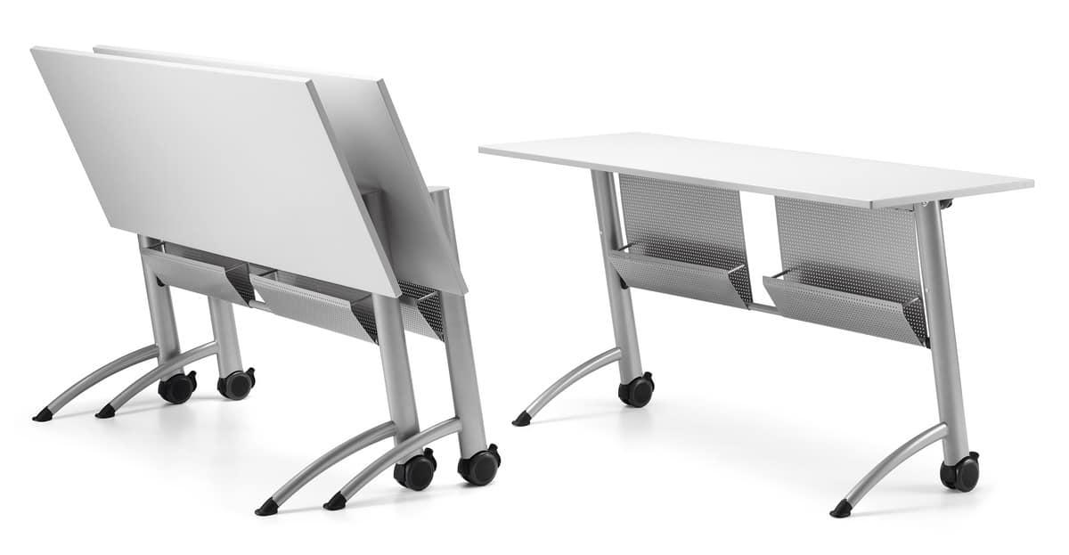 Tavolo con piano ribaltabile con ruote per aree meeting for Tavoli pieghevoli
