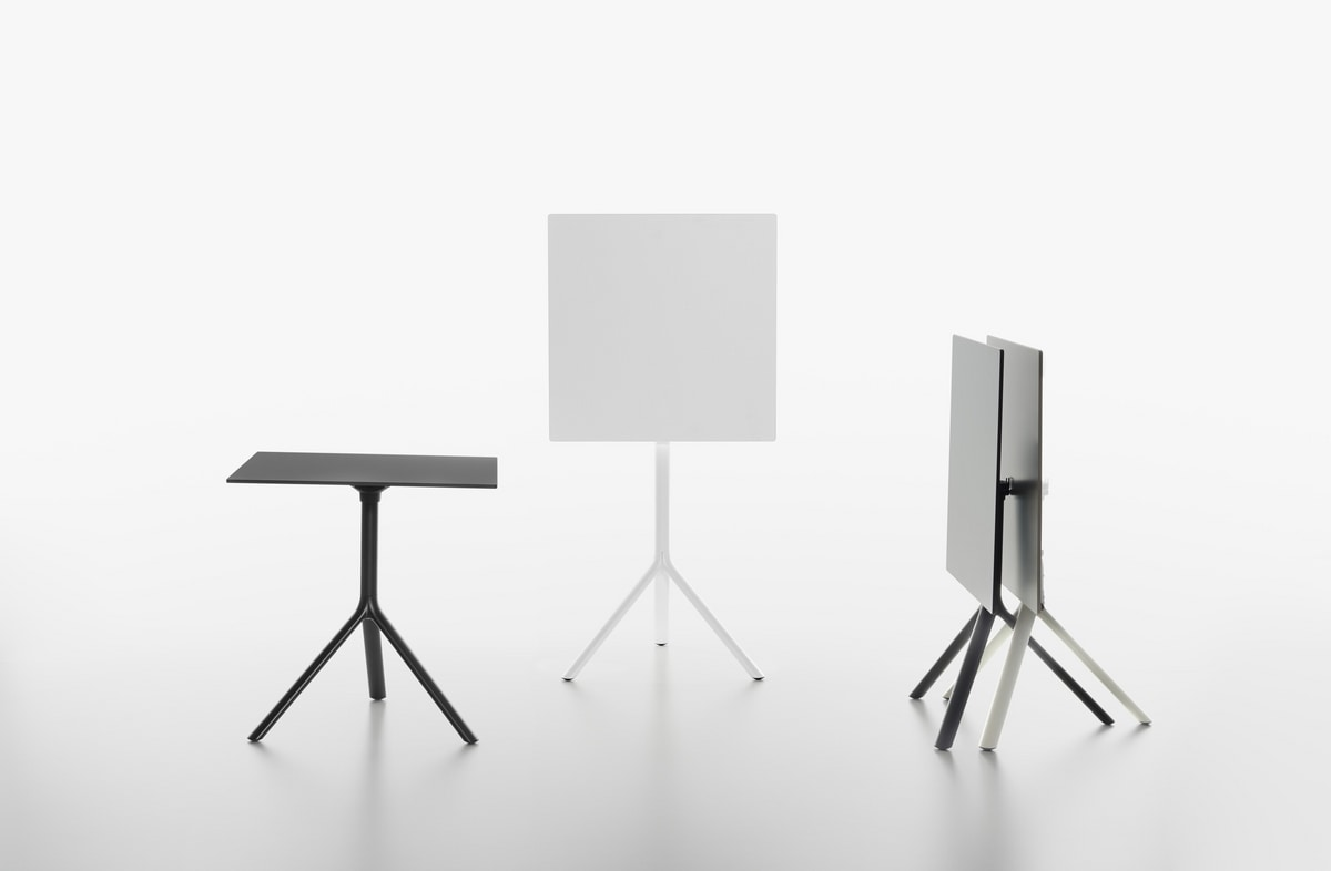 Miura I tavolo bistro quadrato , Tavolino quadrato con piano ribaltabile