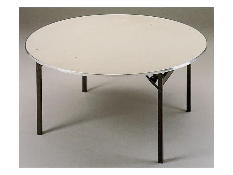 Slimfold S.3, Tavolo pieghevole con piano in legno, facilmente trasportabile