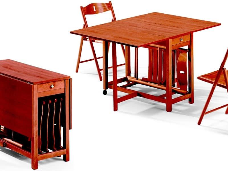 Tavolo pieghevole con alloggio per sedie salvaspazio for Tavolo alto pieghevole