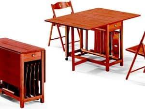 Tavolo Fred, Sedia 189EVF, Tavolo pieghevole, con alloggio per sedie, salvaspazio