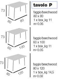 Tavolo P rettangolare, Tavolo riponibile, disponibile in varie essenze