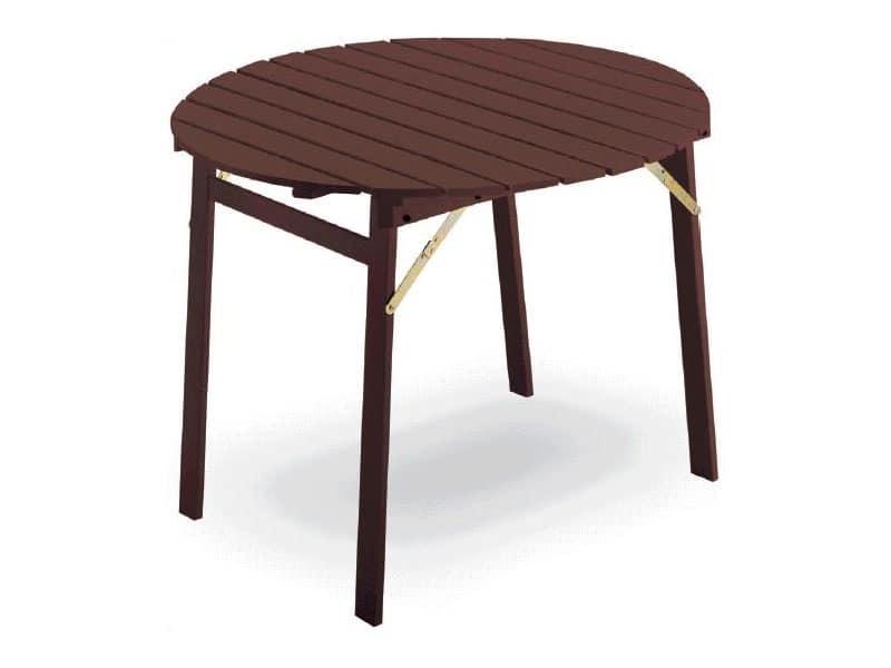 Tavolo chiudibile in legno di faggio piano tondo idfdesign for Tavolo tondo alto