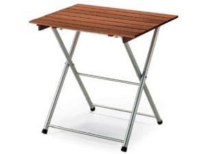 Tavolo Spring, Tavolo pieghevole in metallo, con piano in legno