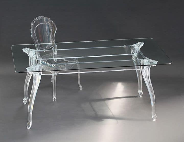 Elegante tavolo rettangolare con piano in vetro gambe in - Tavolo policarbonato ...