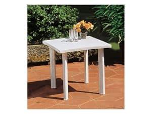 Fiocco, Tavolo quadrato in resina, per esterno
