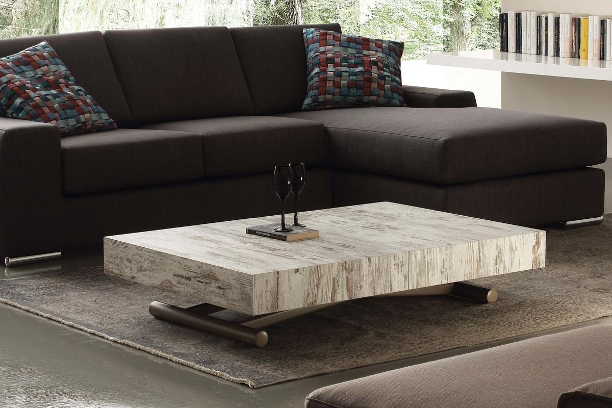 Art. 757 Block, Tavolino trasformabile in tavolo da pranzo, regolabile in altezza