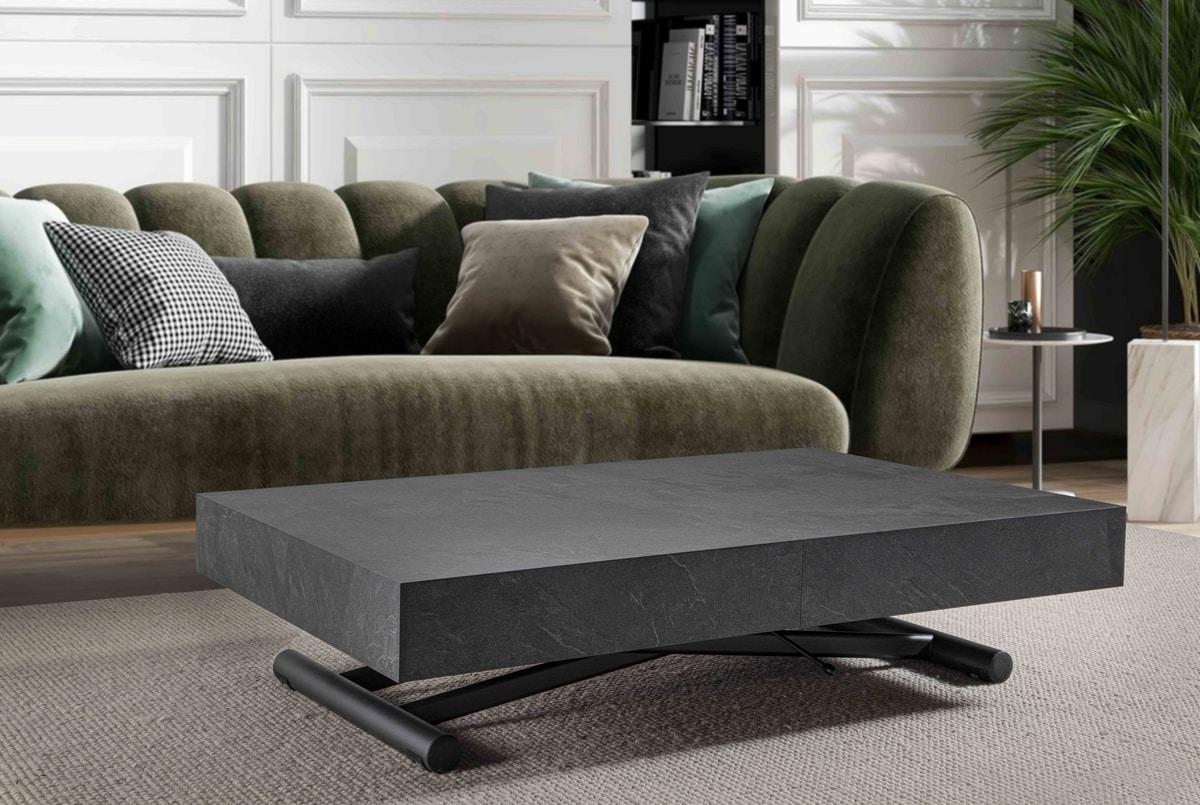 Tavolino trasformabile in tavolo da pranzo regolabile in altezza idfdesign for Tavolo da biliardo trasformabile in tavolo da pranzo