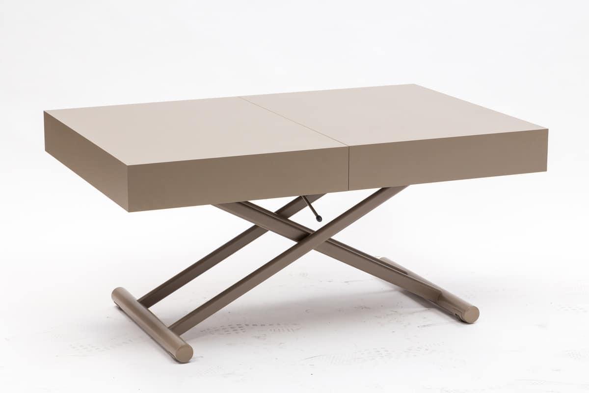 Tavolino trasformabile in tavolo da pranzo regolabile in for Couchtisch rollbar