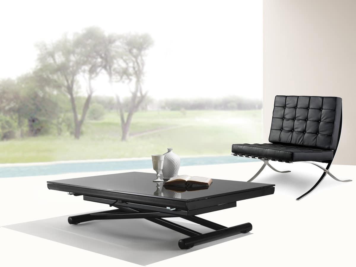 Tavolo trasformabile con altezza regolabile idfdesign for Tavolino salotto nero