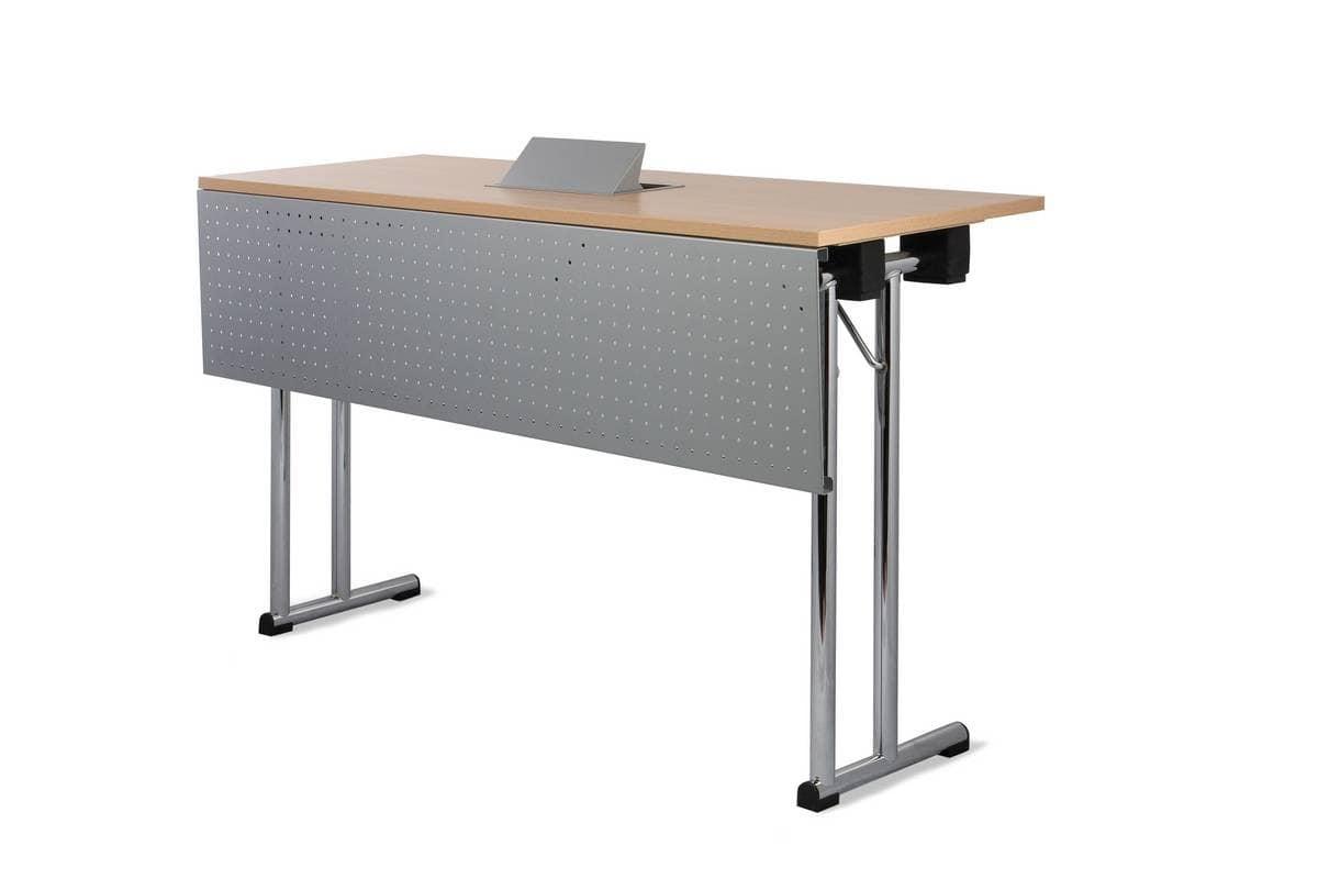 Conference 1645, Tavolo con gambe pieghevoli per riunioni, tavolo polifunzionale per conferenze