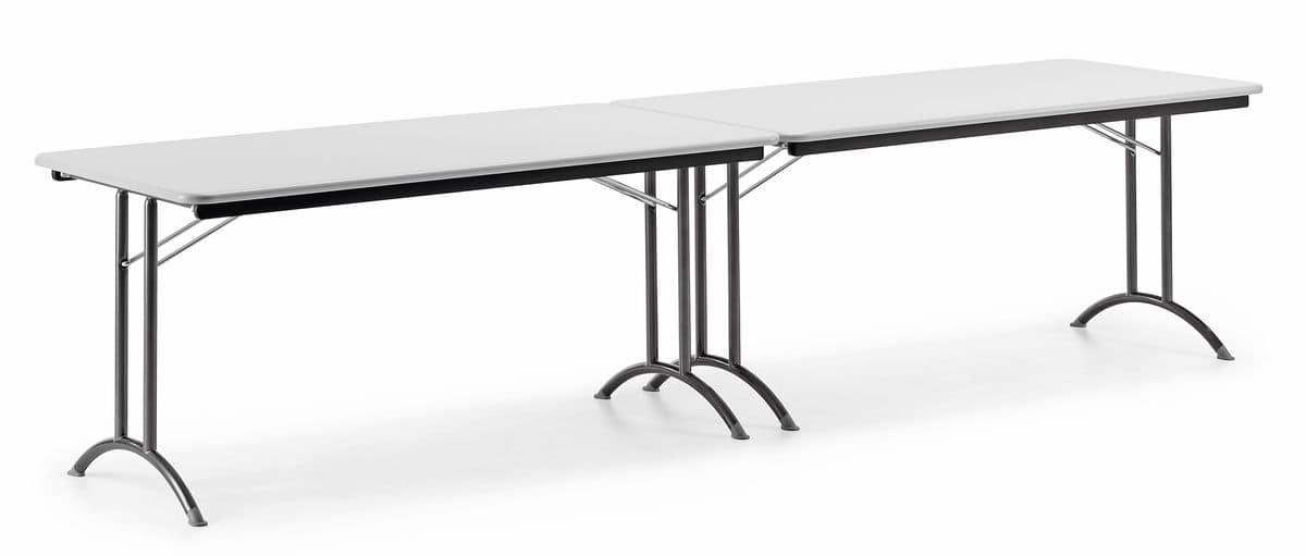 KOMBY 930, Tavolo pieghevole, base in metallo, piano in laminato