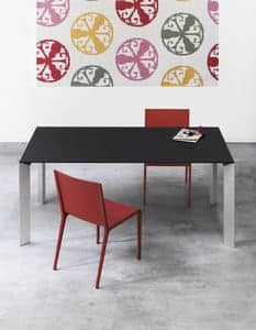 Nori, Tavolo allungabile con gambe in alluminio, per uffici