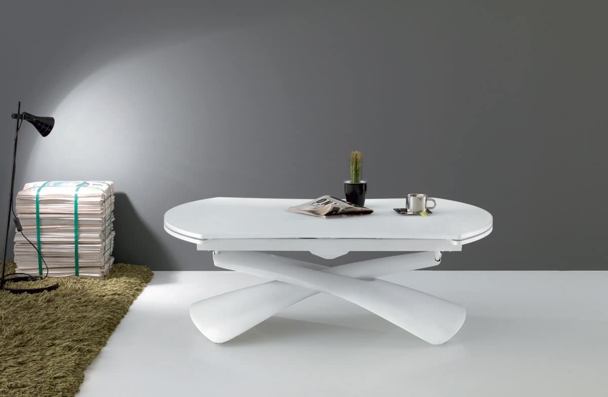 Tavolino multifunzionale pieghevole per soggiorno idfdesign for Tavolo rotondo apribile
