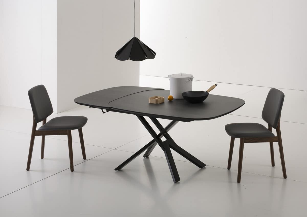 Tavolo ellittico allungabile e regolabile in altezza idfdesign - Altezza tavolo da pranzo ...