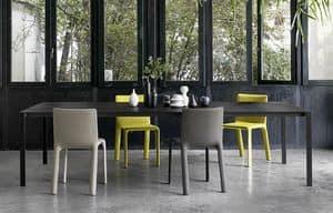 Thin-k Longo, Tavolo design, con piano sottile ed esteso, per uffici